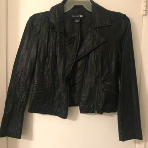 Faux leather jacket.